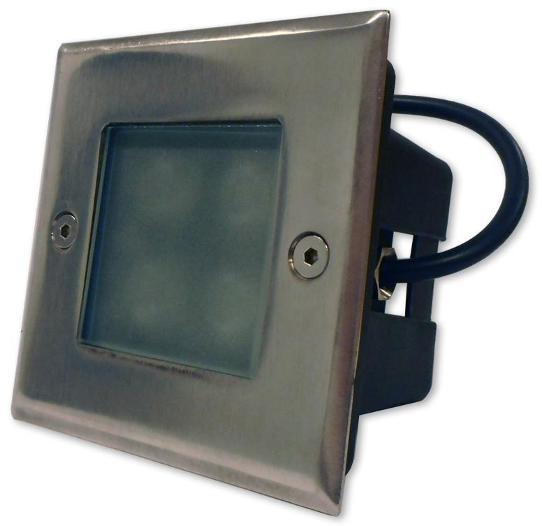 Projector LED Quadrado Inox p/ Encastrar IP67 220V AC 4W Branco Q. 3000K
