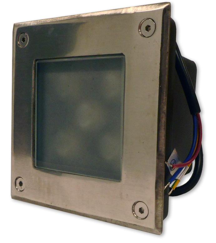 Projector LED Quadrado Inox p/ Encastrar IP67 220V AC 5W Branco F. 6000K