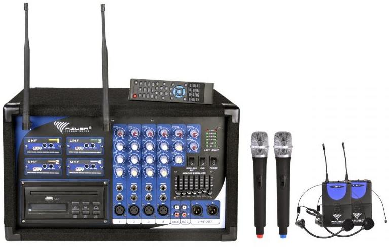 Central 4 Microfones s/ Fios UHF (2 Cabeça + 2 Mão) 2x 200W c/ Leitor DVD/CD/USB (PA-180) - AZUSA