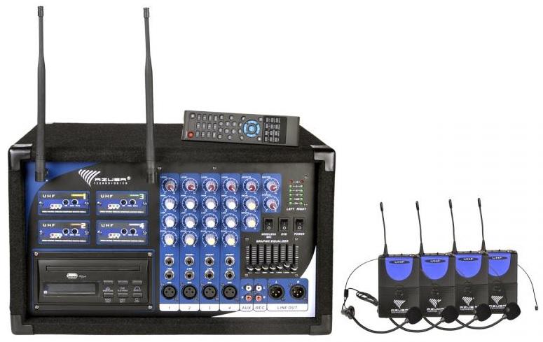 Central 4 Microfones s/ Fios UHF (Cabeça/Lapela) 2x 200W c/ Leitor DVD/CD/USB (PA-180) - AZUSA