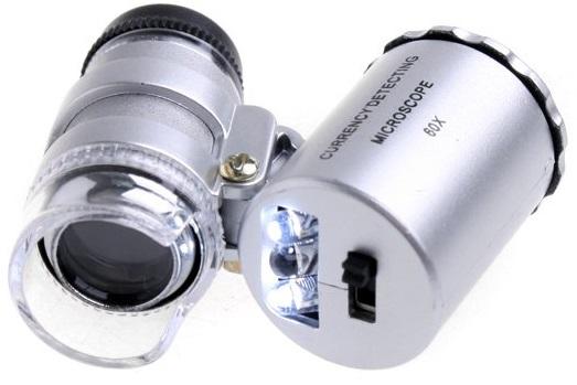 Mini Microscópio c/ Lupa 60x e Iluminação LED e UV -  ProFTC