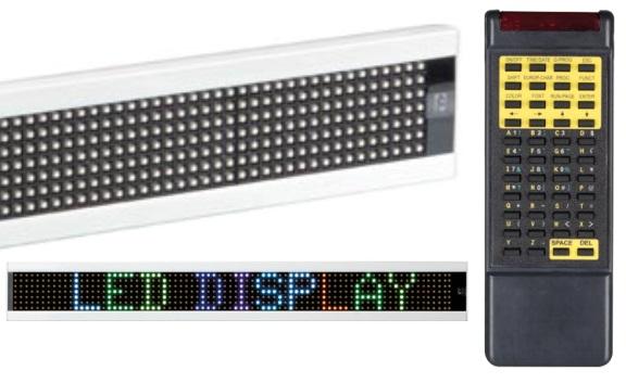 Placa Mensagens Multicolor (RGB) c/ Comando - 7 x 80 LEDs