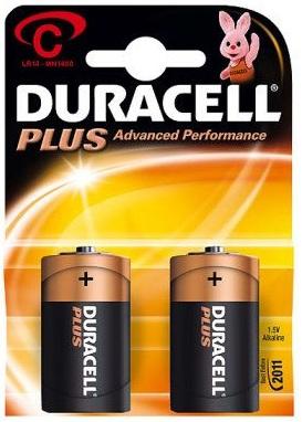 Blister 2 Pilhas Alcalinas 1,5V C / LR14 - Duracell PLUS