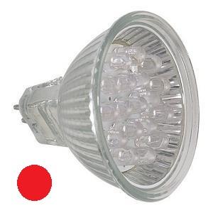 Lampada c/ 20 LEDs 1W MR16, Cor Vermelho 12V