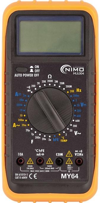 Multímetro Digital c/ Capacímetro + Temperatura - NIMO