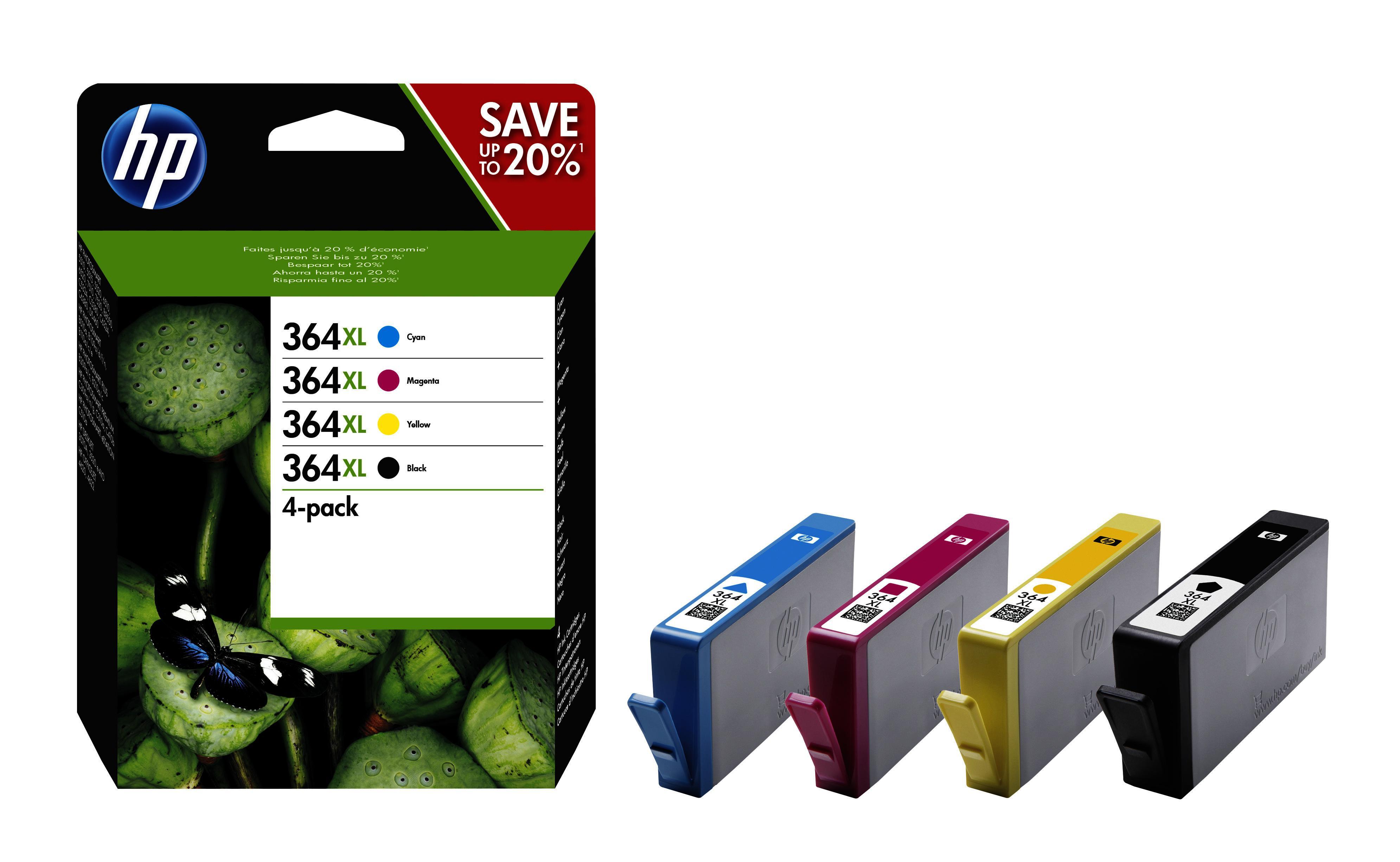 Pack 4x Tinteiros 364XL (Preto, Azul, Magenta e Amarelo) - HP