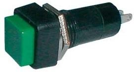 Pulsador Quadrado OFF-(ON) 250V/1A - Verde