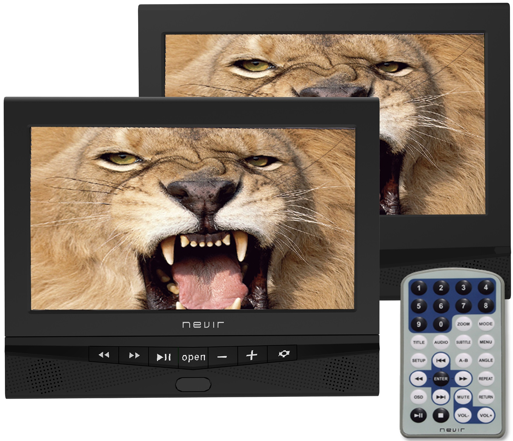 Leitor DVD Portátil 10,1 (c/ 2 Ecrãs) - NEVIR