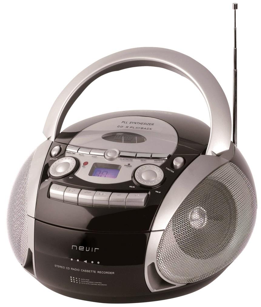 Rádio Digital CD/CASSETE/USB/MP3/AUX/AM/FM (Preto/Cinza) - NEVIR