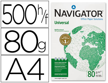Resma 500x Folhas Papel Fotocopia Navigator Din A4 (80 Gr)