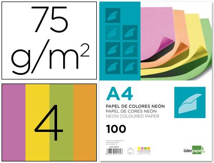 Papel de Cor Din A4 75 Gr Embalagem de 100 Quatro Cores Neon Sortidas