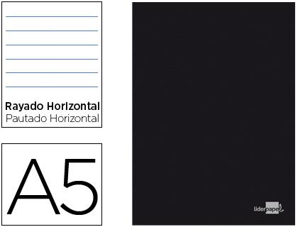Caderno Escolar Capa Preta A5 80F Pautado Papel 60Gr