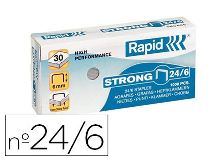Agrafos Rapid Strong Nº 24/6 Caixa de 1000 Unidades Galvanizados