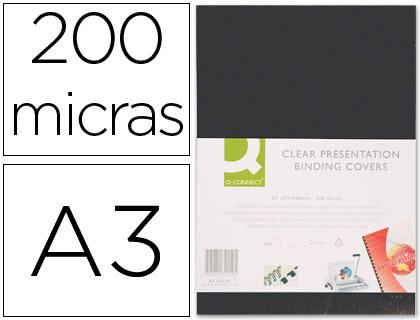 Capa de Encadernacao Q-Connect PVC Din A3 Opaca Preta 200 Microns (100 Unidades)