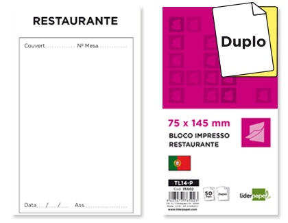 Bloco de Pedidos Restaurante Original e Copia (PT) - 145x75 mm