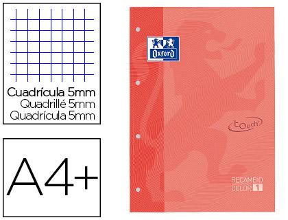Recarga Color 1 Oxford Din A4+ 80 Folhas 90 Gr Quadricula 5 mm Capa Suave 4 Furos Coral Touch