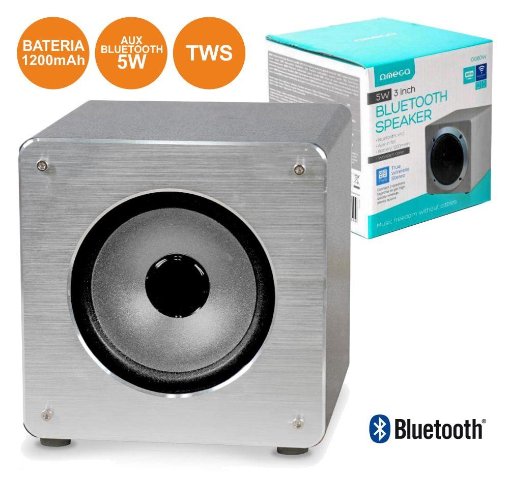 Coluna Bluetooth Portátil 5W 3 Alumínio MP3/BLUETOOTH/BAT TWS - OMEGA