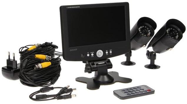 Pack Vigilância (Monitor Gravador + 2 Camaras + Cabos + Transformador + Comando) - ORNO