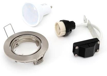 Pack Lampada LED 220V GU10 7W Branco Q. 3000K 560Lm c/ Suporte Lampada + Aro Aço Escovado - OMEGA