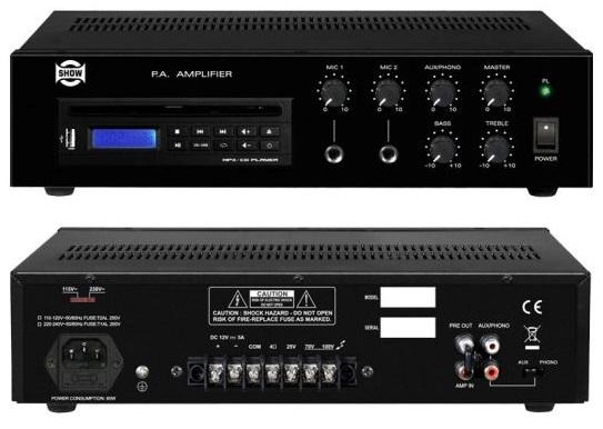 Amplificador Linha 100V 30W RMS c/ Leitor CD/MP3/USB - SHOW PA-30CH