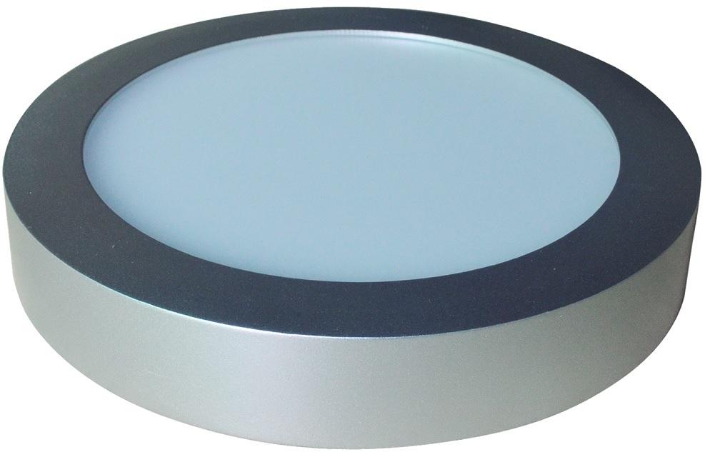Painel de LED Superficie Redondo (Ø 22cm) 24W 6000K 2400Lm - Aço Escovado