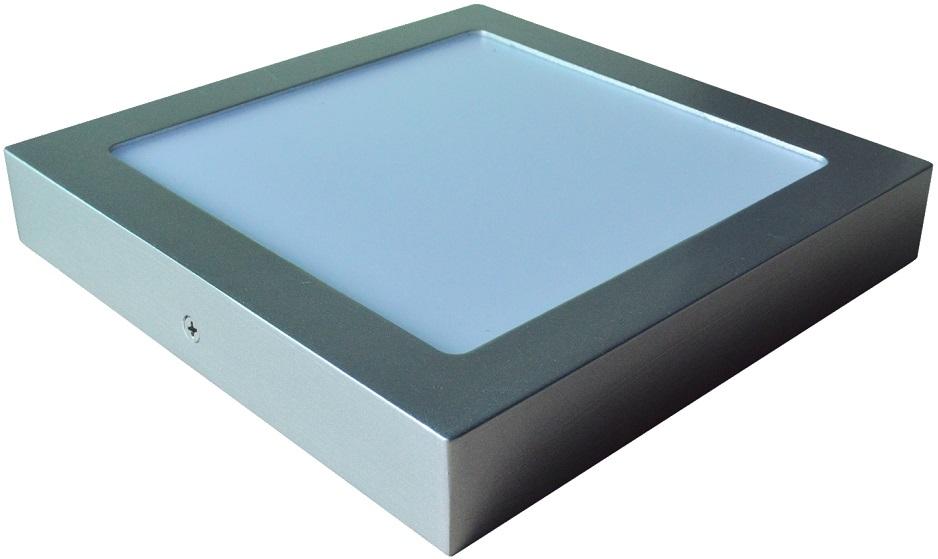 Painel de LED Superficie Quadrado (12 x 12cm) 6W 6000K 600Lm - Aço Escovado