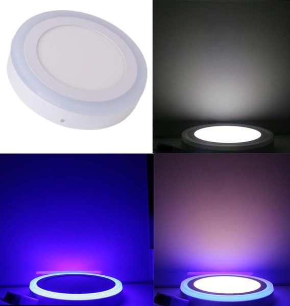Painel de LED Superficie Ø14,5cm Redondo 9(6+3)W 6000K c/ Anel em Azul