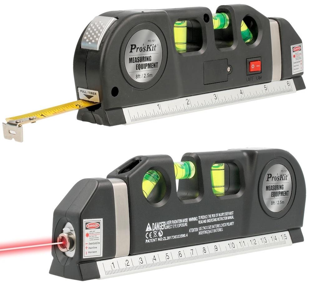 Fita Métrica Multifunções c/ Nível + Laser (2,50 mts) - Proskit