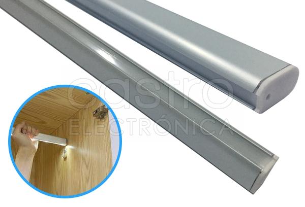 Perfil Aluminio c/ Difusor Opaco p/ Roupeiros, ... (2 mts) - ProFTC