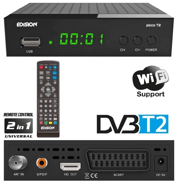 Receptor TDT DVB-T2 H.264 Wi-Fi Full HD c/ USB - EDISION