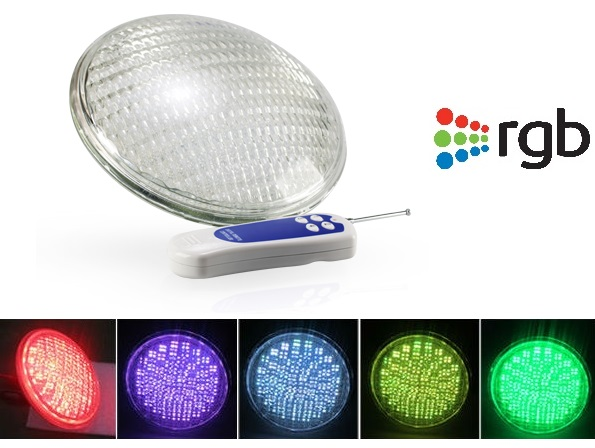 Lampada LED PAR56 RGB p/ Piscina 12VAC 35W IP68 3100Lm c/ Comando sem Fios