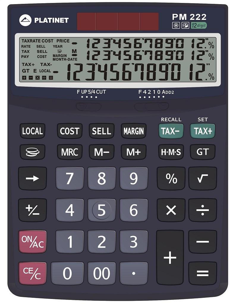 Calculadora de Secretária 12 Digitos / 3 Linhas - PLATINET