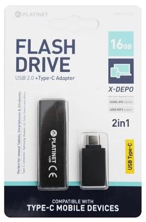 Pen Drive USB2.0 X-Depo 16GB + Adaptador USB-C (Preto) - PLATINET