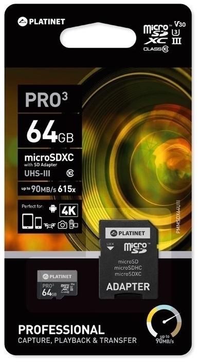 Cartão Memória PROFISSIONAL MicroSD c/ Adaptador SD 64GB (CLASS 10 UIII) - PLATINET