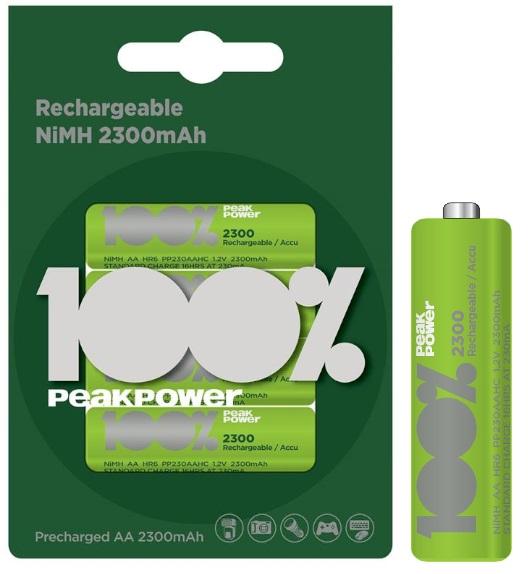 Blister 4 Pilhas Recarregáveis 1,2V AA Ni-Mh 2300mAh - PEAK POWER