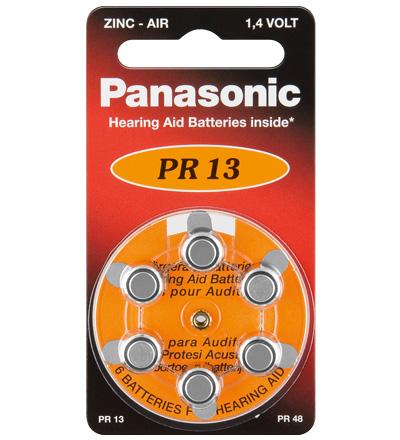 Pack 6x Pilhas p/ Aparelhos Auditivos - PR13/PR48/AZA13 - PANASONIC