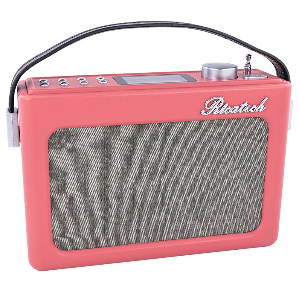 Rádio Relógio Despertador Vintage FM 2x 1W RMS (Rosa) - RICATECH
