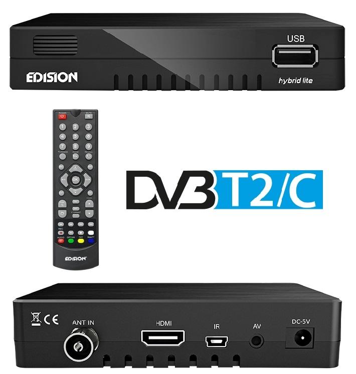 Receptor Digital Terreste TDT (DVB-T2) + Cabo (DVB-C) FullHD - EDISION Progressiv Hybrid Lite