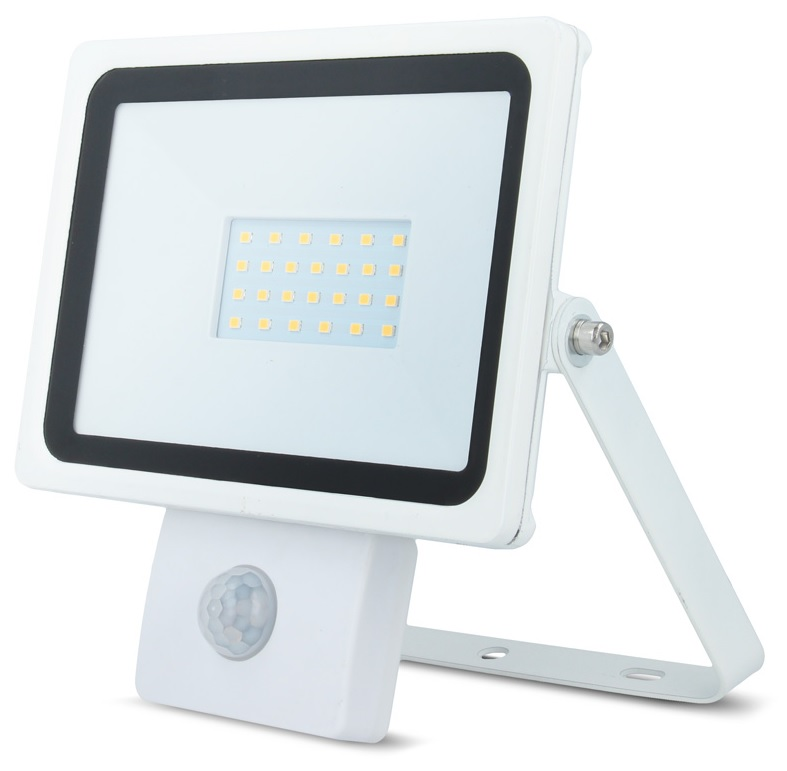 Projector LED IP65 220V Branco Q. 3000K 20W c/ Sensor