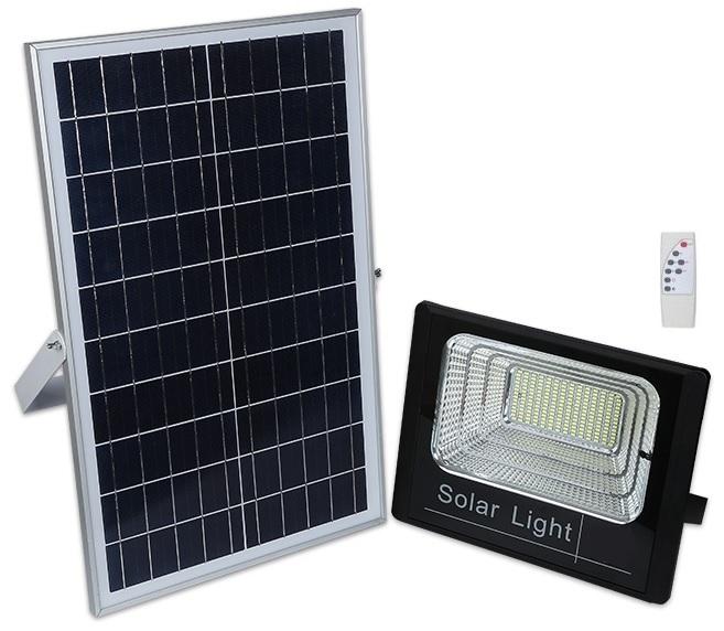 Kit Projector LED 50W Branco F. 6000K c/ Sensor + Painel Solar (IP67) - ProFTC