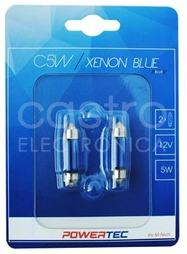 Blister 2x Lampadas Halogéneo C5W (36mm) 12V 5W (XENON BLUE)