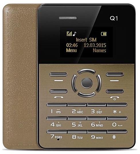 Mini Telemovel Tamanho e Grossura de Cartão Bluetooth, Radio FM (Dourado) - ProFTC