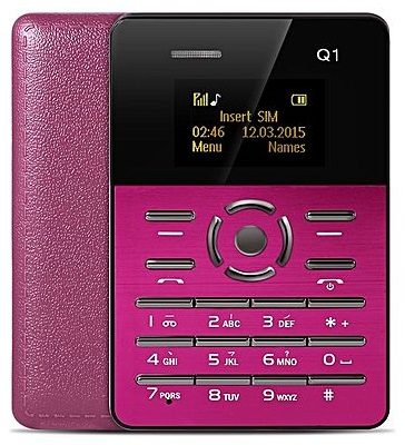 Mini Telemovel Tamanho e Grossura de Cartão Bluetooth, Radio FM (Rosa) - ProFTC