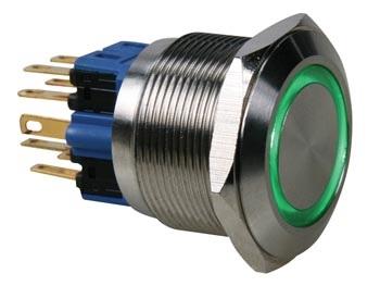 Pulsador Aço Inox. DPST - 1NO 1NC - Luz Verde