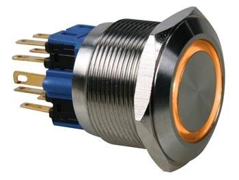 Pulsador Aço Inox. DPST - 1NO 1NC - Luz Laranja