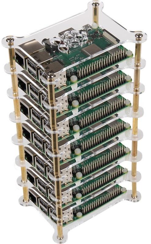 Caixa Tower em Acrílico p/ 7x Raspberry Pi 2/3/4B+