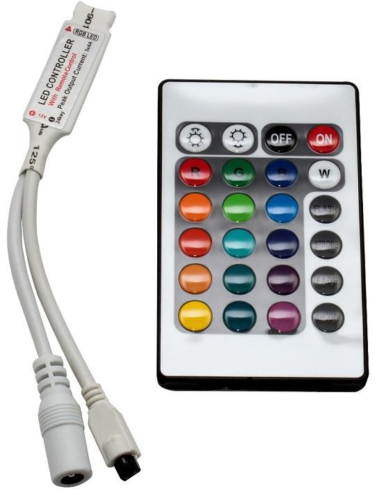 Controlador de Fita de LEDs RGB (144W) c/ Comando à Distância