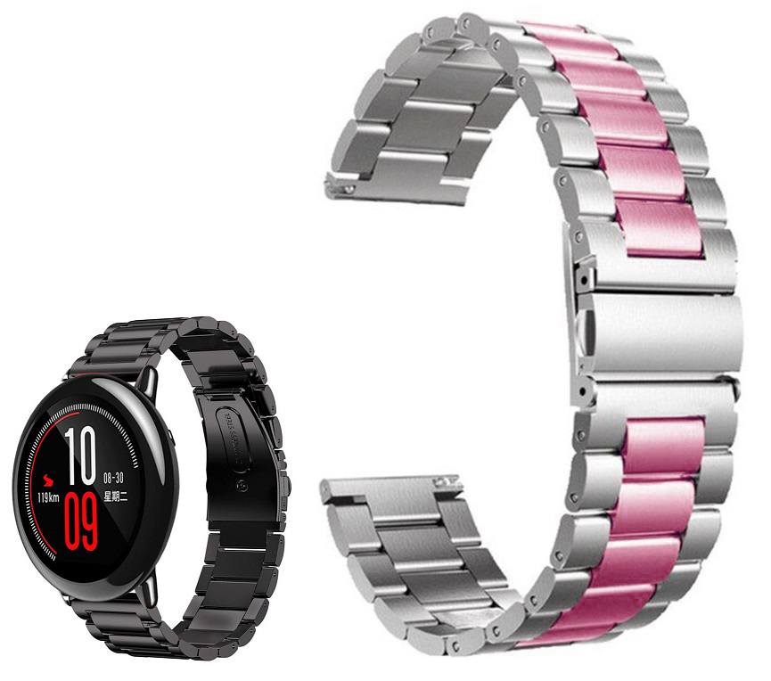 Correia Met. Dual Elos (Rosa) p/ Xiaomi Amazfit Pace/Stratos/Stratos2S/GTR 47mm/Ticwatch/Huawei/