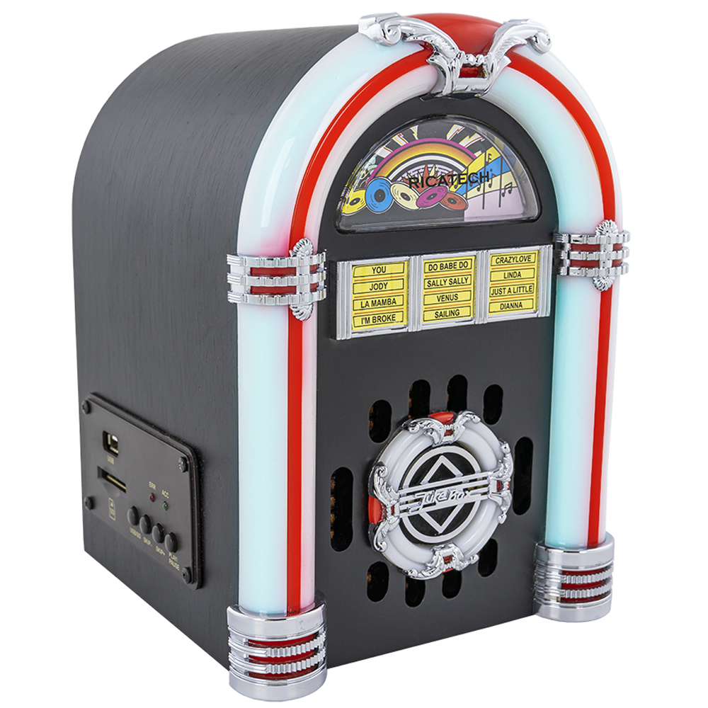 Jukebox 1x 1,5W LEDs RGB c/ Leitor USB/SD/MP3/AUX - RICATECH