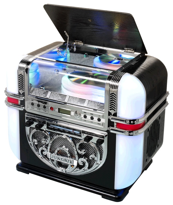 Jukebox 2x 2W AM/FM LEDs RGB c/ Leitor CD/AUX - RICATECH